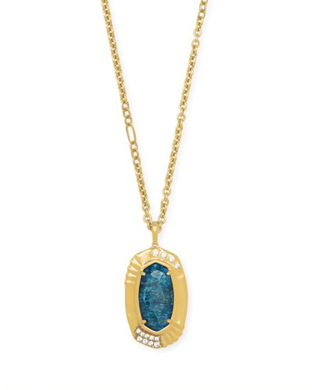 Anna Long Pendant in Teal Apatite-Vintage Gold