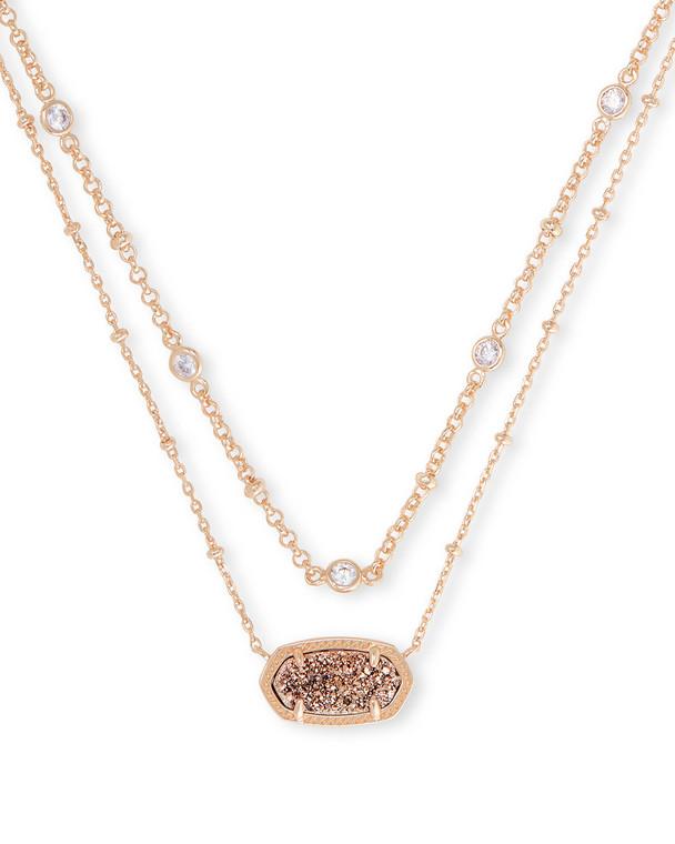 Elisa Multi Strand Necklace in Rose Gold Drusy-Rose Gold Tone