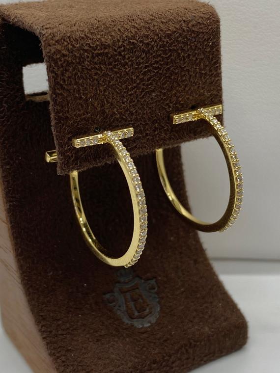 Bar Diamond Hoop Earrings-18KT Yellow Gold