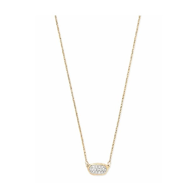 Lisa Pendant Necklace in Pave Diamond and Yellow Gold