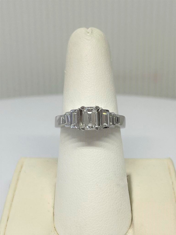 1.40cttw Emerald Cut Engagement Ring with Baguette Accents