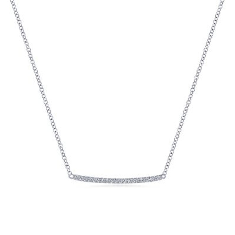 White Gold Curved Pave Diamond Bar Necklace