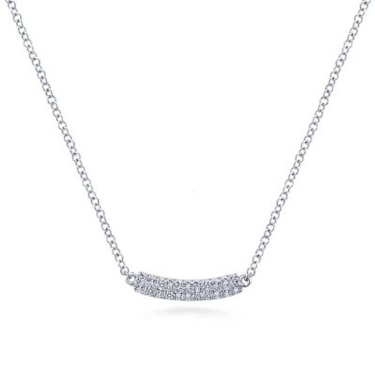 White Gold Pave Diamond Bar Necklace