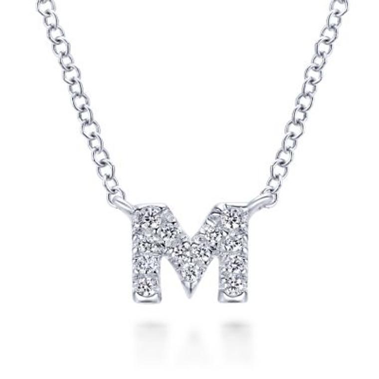 "White Gold Diamond ""M"" Initial Pendant Necklace"