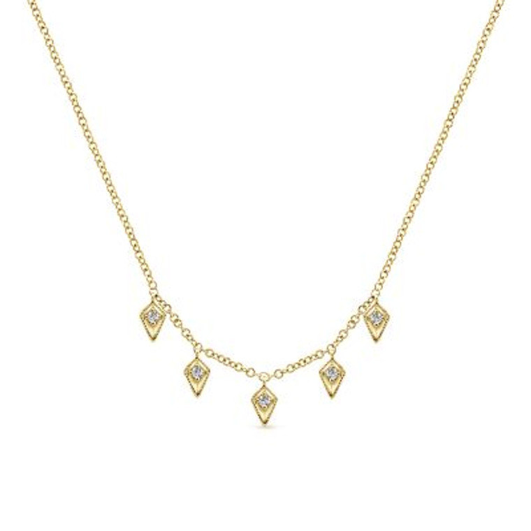 Yellow Gold Kite Shaped Drops Station Necklace with Diamonds