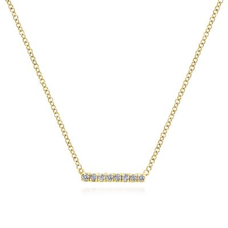 Yellow Gold Petite Pave Diamond Bar Necklace