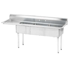 """Advance Tabco FE-3-1824-24L-X 73"""" - 84"""" Stainless Steel 3 Compartment Left Drain Special Value Fabricated Sink 18"""" x 24"""" x 14"""" Deep"""