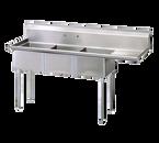 "Turbo Air TSA-3-R1 73"" - 84"" Stainless Steel 3 Compartment Sink 11"" Deep"