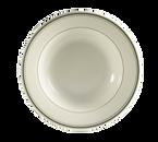 "CAC China GS-125  12-3/4""  30 oz  Ceramic  Green Band/American White  Round  Greenbrier Pasta Bowl"