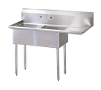 """Turbo Air TSA-2-R1 54"""" - 62"""" 18-Gauge Stainless Steel Two Compartment Sink 11"""" Deep"""