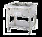 Duke WB302-LP 2 Pan Liquid Propane AeroHot Steamtable Wet Bath Unit Open Base with Undershelf