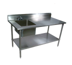 """John Boos EPT8R5-3060SSK-L 60""""W x 30""""D x 40-3/4""""H Stainless Steel Work Table with Prep Sink"""