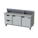 """Beverage Air SPED72HC-18-2 72"""" W Three-Section Two Door Sandwich Top Refrigerated Counter"""