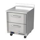 """Victory VWFD27HC-2 27""""W Two Drawer Stainless Steel Worktop Freezer Counter With 4"""" High Foamed In Place Backsplash"""
