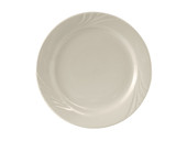 "Tuxton YEA-090 9"" Dia American White/Eggshell Wide Rim China Plate"
