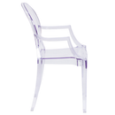 Flash Furniture FH-124-APC-CLR-GG 400 Lb. Transparent Crystal Molded Polycarbonate Rubber Floor Glides Plain Back Curved Arms Contoured Seat Ghost Chair