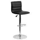 "Flash Furniture CH-92023-1-BK-GG 17-5/8"" Dia. Swivel Bar Stool Modern Black Vinyl Adjustable With Chrome Pedestal Base"