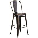 Flash Furniture ET-3534-30-COP-GG 500 Lb. Copper Curved Back With Vertical Slat Distressed Powder Coat Finish Bar Stool