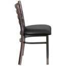 Flash Furniture XU-DG694BLAD-CLR-BLKV-GG Hercules Series Restaurant Chair Clear Coated Ladder Back Metal With Black Vinyl Seat