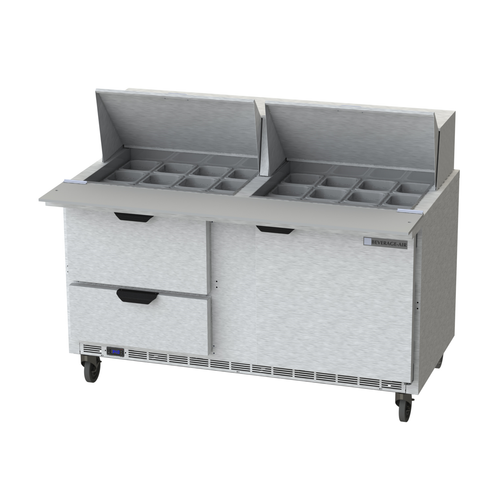 """Beverage Air SPED60HC-24M-2 60"""" W Two-Section One Door Mega Top Refrigerated Counter"""