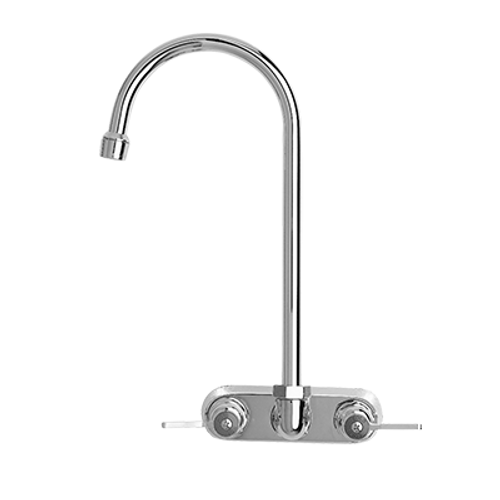 """Fisher 19607 Brass Backsplash Mount Faucet With 4"""" Centers And 6"""" Swivel Gooseneck Spout"""