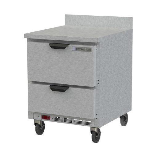 """Beverage Air WTFD27AHC-2 27""""W Two Drawer Stainless Steel Worktop Freezer With 4"""" Removable Backsplash"""