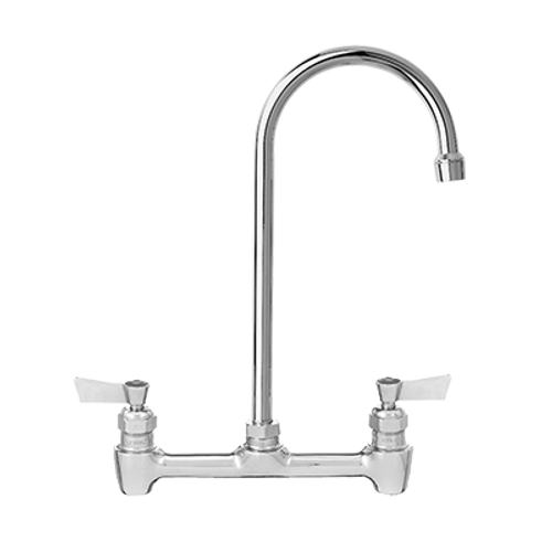 """Fisher 61298 Stainless Steel Backsplash Mount Faucet With 8"""" Centers And 6"""" Swivel / Rigid Gooseneck Spout"""
