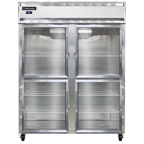 """Continental Refrigerator 2RESNSAGDHD 57"""" W Two-Section Glass Door Reach-In Extra-Wide Refrigerator"""