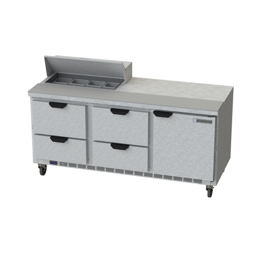 """Beverage Air SPED72HC-08-4 72"""" W Three-Section One Door Sandwich Top Refrigerated Counter"""