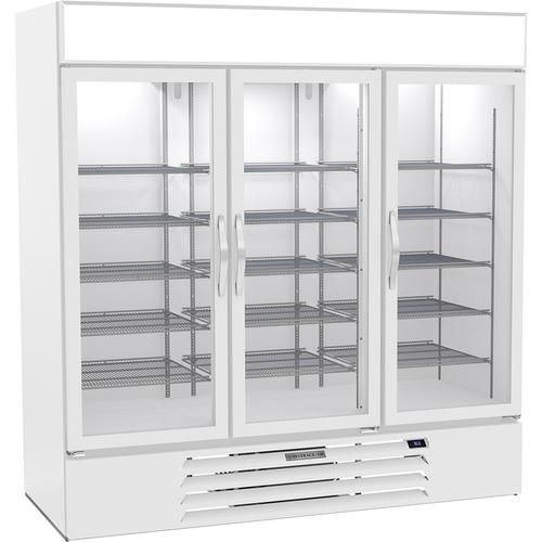 """Beverage Air MMR72HC-1-W 75"""" W Three-Section Glass Door MarketMax Refrigerated Merchandiser"""