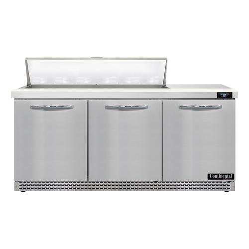 """Continental Refrigerator SW72N12-FB 72"""" W Three-Section Three Door Sandwich Unit"""