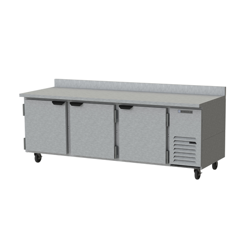 "Beverage Air WTR93AHC 93""W Three-Section Three Door Worktop Refrigerator Backsplash"