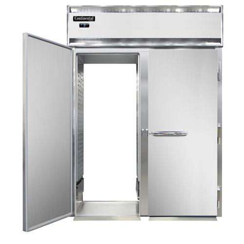 "Continental Refrigerator DL2FI-SS-RT 68.5"" W Two-Section Solid Door Roll-Thru Designer Line Freezer"