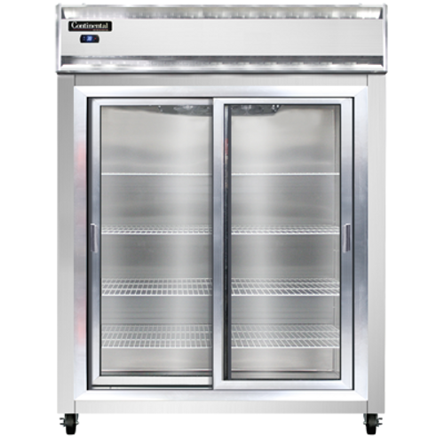 """Continental Refrigerator 2RESNSASGD 57"""" W Two-Section Glass Door Reach-In Extra-Wide Refrigerator"""