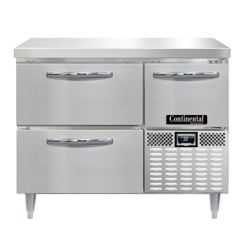 """Continental Refrigerator DRA43NSS-D 43""""W Two Drawer and One Door Stainless Steel Designer Line Refrigerated Base Worktop Unit"""