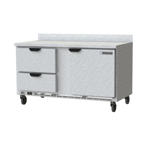 "Beverage Air WTRD60AHC-2 60""W Two-Section One Door Worktop Refrigerator Backsplash"