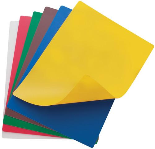 "Winco CBF-1218 18"" x 12"" x 1/16""H Color Coded Polyethylene Cutting Mat Set (6 Color Mats Per Set)"