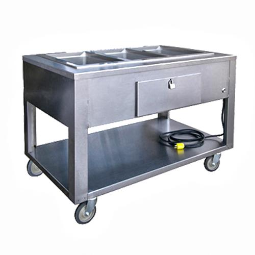 Lakeside PBST4W 4 Pan Electric Steam Table Open Shelf Base - 120 Volts