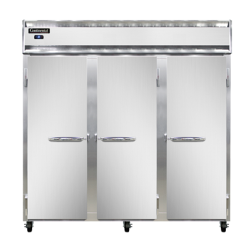 """Continental Refrigerator 3RSNSS 78"""" W Three-Section Solid Door Reach-In Refrigerator"""