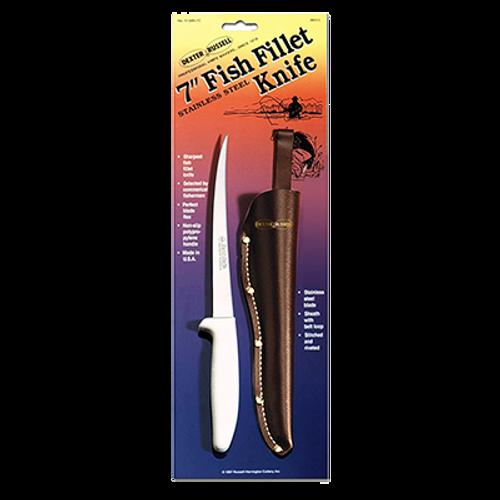 """Dexter S133N-7C 7"""" White Sani-Safe® Fillet Knife with Polypropylene Handle"""