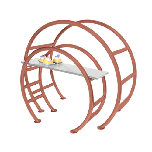 """Eastern Tabletop 1750ACCP 23-1/2""""W x 9-1/2""""D x 21""""H Copper 18/10 Stainless Steel Circular Tabletop Display"""