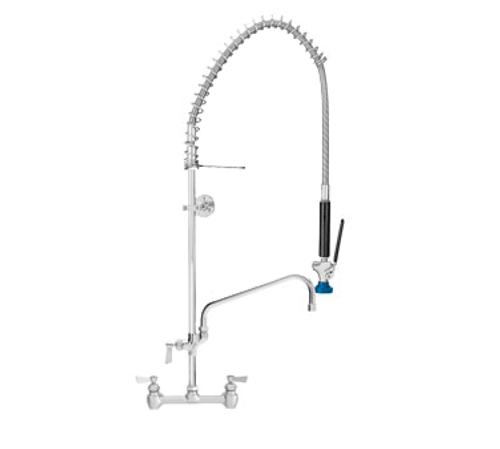 """Fisher 68071 8"""" Backsplash Mount Spring Stainless Steel Add-On Faucet with 6"""" Swing Spout Pre-Rinse Unit"""
