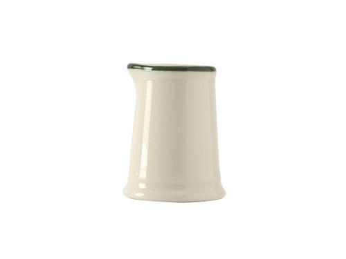 Tuxton DNR-0351 Creamer / Pitcher China 1/2 - 3 Oz. Eggshell With Green Band - 1 Dozen Per Case