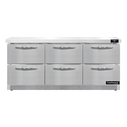 "Continental Refrigerator SW72N-FB-D 72""W Three-Section Work Top Refrigerator"