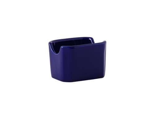 "Tuxton BCQ-034 China Sugar Packet Holder / Caddy 3-1/2"" x 2-7/8"" x 2-3/8"" Cobalt - 1 Dozen Per Case"