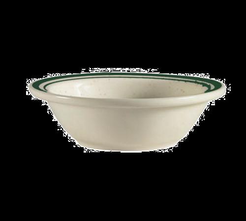 "CAC China CES-11  4-3/4""  5 oz  Ceramic  Emerald Rim/Emerald Speckled/American White  Round  Emerald Fruit Dish"
