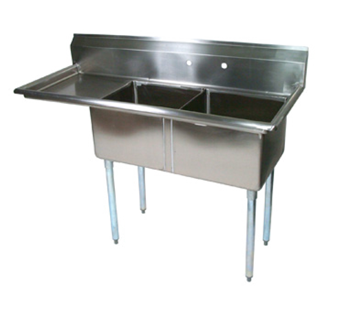 """John Boos E2S8-18-12L18 54"""" - 62"""" 18-Gauge Stainless Steel Two Compartment Left Drain E-Series Sink 12"""" Deep"""