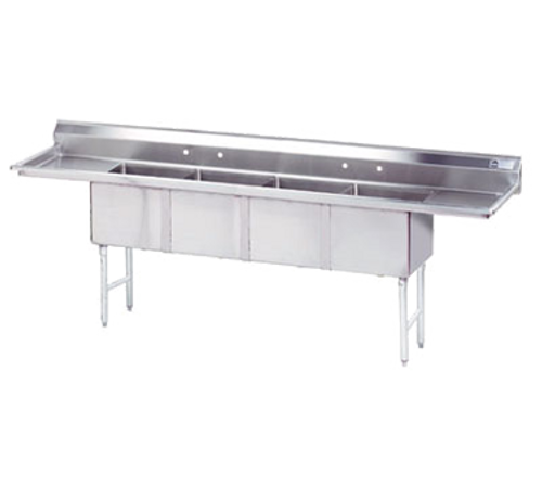 """Advance Tabco FC-4-1824-18RL-X 98"""" - 113"""" Stainless Steel 4 Compartment Left Drain Fabricated Sink 18"""" x 24"""" x 14"""" Deep"""