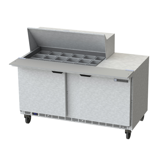 """Beverage Air SPE60HC-18M 60"""" W Two-Section Two Door Mega Top Refrigerated Counter"""