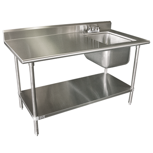"""Advance Tabco KMS-11B-305R-X 60""""W x 30""""D Stainless Steel Work Table with Prep Sink with 5"""" Backsplash"""